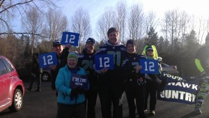 The 12th man was alive and well yesterday morning in Renton, WA! Great way to break up a long run and make some new friends.