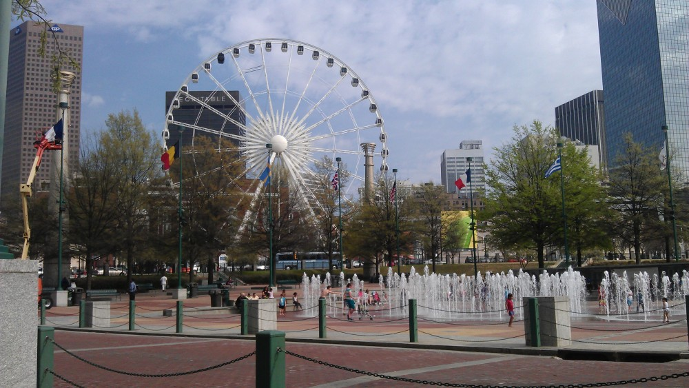 Centennial Olympic Park, in the shadow of CNN, where one of my dear grad school friends works now. Lovely place, great for a midafternoon walk.