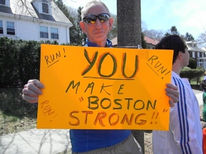 From the local CBS affiliate in Boston - just one of many signs we saw on our way up Heartbreak Hill on Monday.