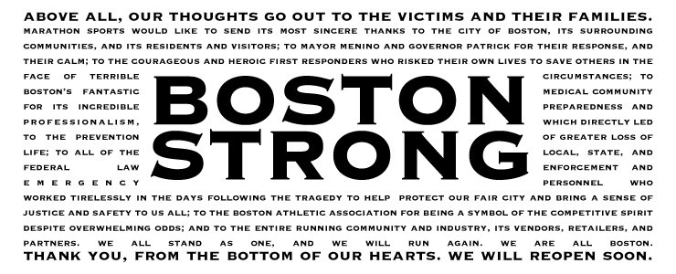 Blessings and warmest wishes to everyone running the 118th Boston Marathon on Monday.
